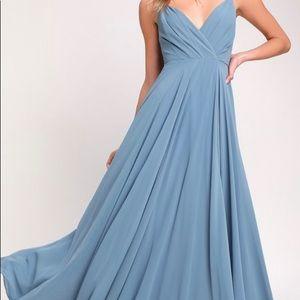 Lulus All About Love Slate Blue Maxi Dress